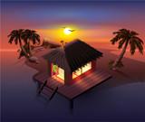 Night tropical island. Palm trees and shack on beach - 206787798