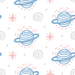 Outer Space childish seamless pattern