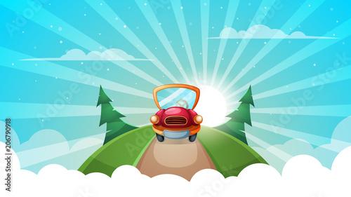 Aluminium Auto Summer cartoon landscape. Car, road illustration Vector eps 10