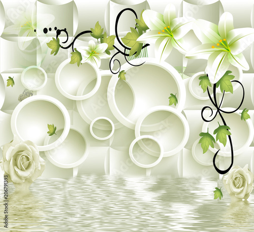 Fototapeta 3d circle background with flowers background wallpaper.