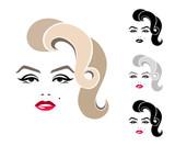 Marilyn Monroe, graphic portrait, logo, sign, icon, emblem, symbol. Isolated image