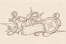 Anchor Steering Wheel And Compass Tangled  Rope And Ribbon Banner Hand Drawn Sketch On Beige  Sticker