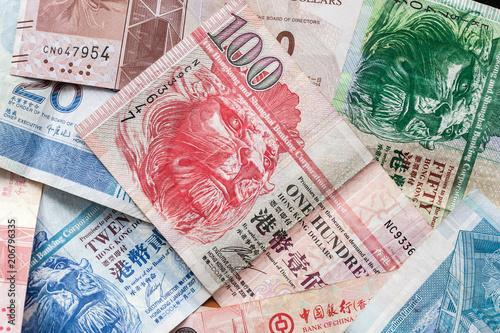 Hong Kong dollars, colorful banknotes