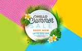 Summer Sale illustration with flower and tropical plant on abstract color background. Vector banner design template for coupon, banner, voucher or promotional poster.