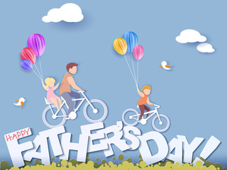 Handsome man and his children bicycling with air balloons. Happy fathers day card. Paper cut style. Vector illustration