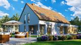 Gartenmöbel im Garten von Einfamilienhaus - 206803513