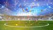 Leinwanddruck Bild - Party im Fußball Stadion bei Pokal Finale