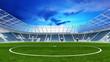 Leinwanddruck Bild - Leeres Fußballstadion abends mit Rasen