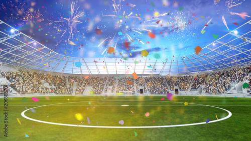 Leinwanddruck Bild Party im Fußball Stadion bei Pokal Finale