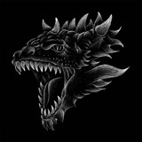 The Vector logo dragon for T-shirt design or outwear.  Hunting style dragon background.