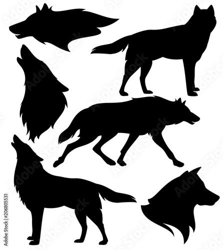 Fototapeta wolf silhouette set - black vector design of running, howling and standing animals