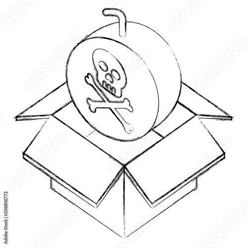 Danger Bomb Skull In Box Storage Isometric Vector Illustration