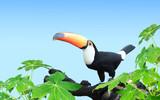 Horizontal banner with beautiful colorful toucan bird - 206808765