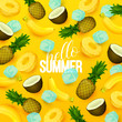 Summer background with fruits. Vector illustration. - 206809364