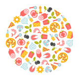 round design element with pizza icons - 206811184