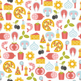 seamless pattern with pizza design elements - 206811199