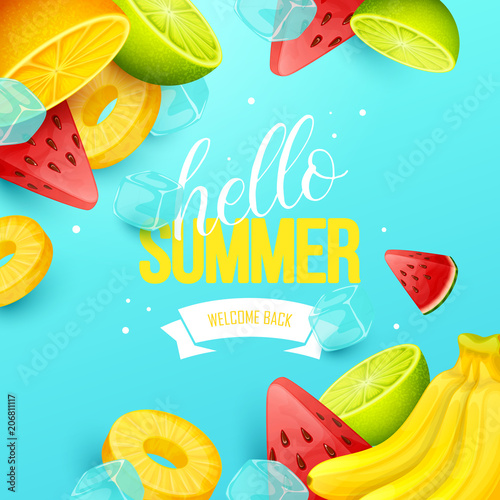 Summer background with fruits. Vector illustration. - 206811117