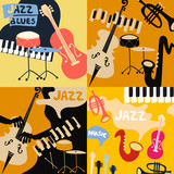 Set of music cards and banners. Music cards with instruments flat vector illustration. Jazz music festival banners. Colorful jazz concert posters