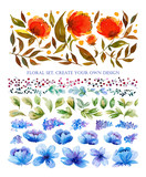 Floral set with abstrakt orange and blue flowers and leaves. Watercolor elements for create your own design. - 206812592