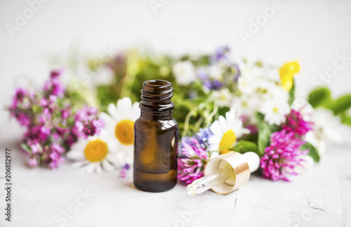 Leinwanddruck Bild Essential oil with medicinal plants and flowers