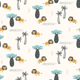 Seamless pattern with lions for children