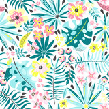 Seamless pattern with exotic plants