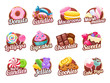 Candies and sweets colorful badges set.