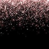 Rose gold falling glitter on black background. Vector