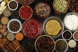 different spices on wooden background. top view - 206820764