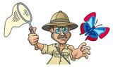 Forscher im Dschungel fängt Schmetterling, Cartoon - 206821509