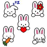 Five vector emoji of bunny. Selfie, sleep, love, with carrot and tongue