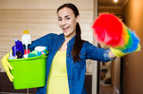 Smiling Beautiful Woman With the Equipment and Supplies for Cleaning at House in Hands - 206822715