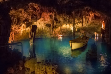 Drach cave of Mallorca island with traditional boat concert, Spain