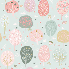 Seamless background with stylized trees. Forest bright pattern