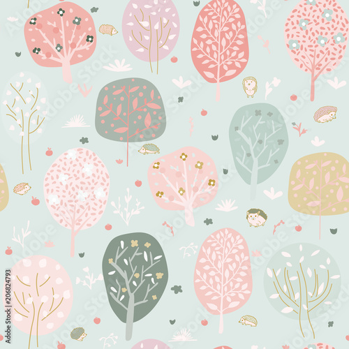Seamless background with stylized trees. Forest bright pattern - 206824793
