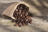 Roasted coffee on the wooden background - Coffea - 206826110