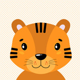 Cute vector tiger head, front view. In the background of polka dots.