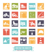Construction Industry Square Color Icon Set Sticker