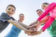 Leinwanddruck Bild - Parents with children sport running together outside