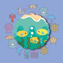 Fishes Sea Life Cartoon Animals Label  Illustration Sticker