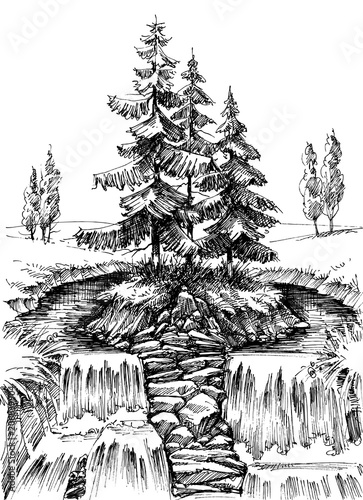 Alpine waterfall. Mountain river landscape drawing - 206839904