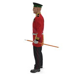Irish Guard Sergeant on white. Side view. 3D illustration