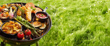 Assortment of fresh healthy vegetables on a BBQ - 206841350