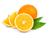 Orange fruit isolate. Fresh orange with leaves isolated on white. - 206841723