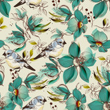Retro seamless pattern, cute flowers and birds print