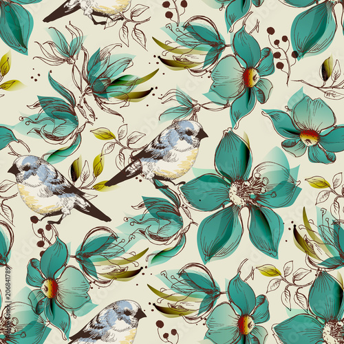 Retro seamless pattern, cute flowers and birds print