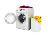Concept of washing clothes Washing machine with colored towels and washing basket with dirty clothes isolated on white background 3d render without shadow - 206843988