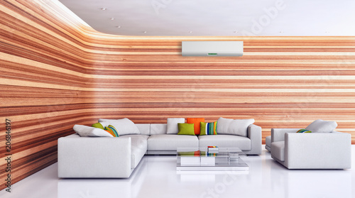 Modern interior apartment with air conditioning 3D rendering illustration - 206846197