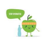 Cute fitness green apple character giving advice to stay hydrated, drink enough water. - 206846317