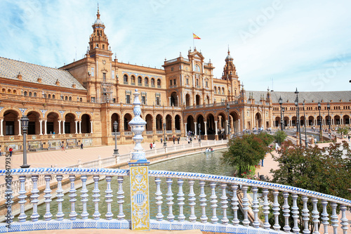 Historic Place de Espana in Sevilla, Andalusia, Spain